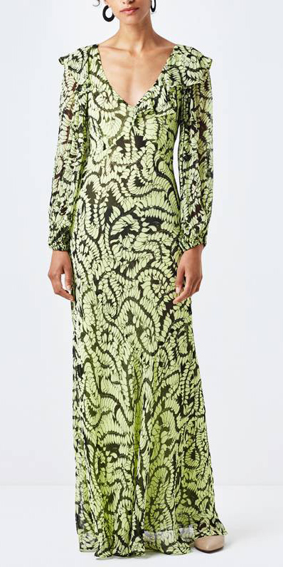 what-to-wear-for-a-winter-wedding-guest-outfit-green-light-dress-maxi-gown-print-elegant-dinner.jpg