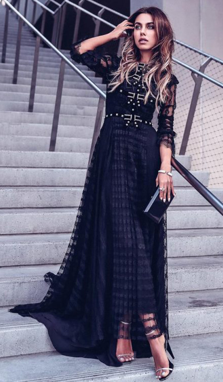 what-to-wear-for-a-winter-wedding-guest-outfit-black-dress-maxi-hairr-black-bag-clutch-mono-dinner.jpg