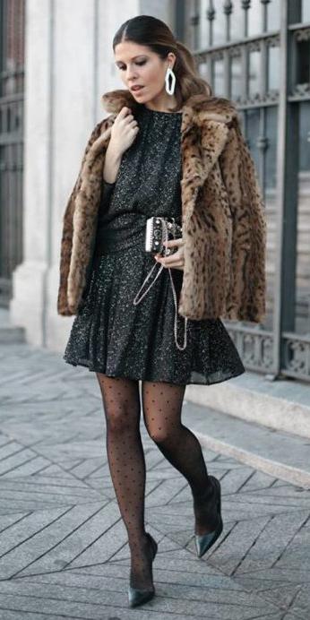 what-to-wear-for-a-winter-wedding-guest-outfit-black-dress-mini-hairr-pony-earrings-tan-jacket-coat-fur-leopard-print-black-tights-black-shoe-pumps-dinner.jpg