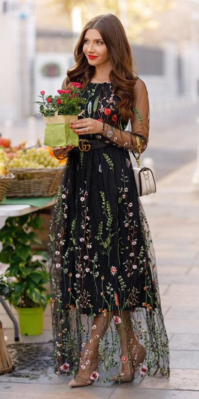 what-to-wear-for-a-winter-wedding-guest-outfit-black-dress-maxi-sheer-overlay-floral-tan-shoe-pumps-brun-dinner.jpg