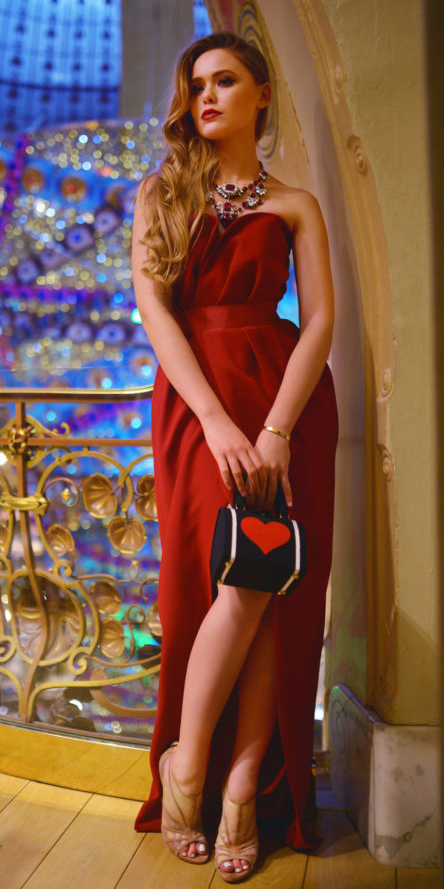 what-to-wear-for-a-winter-wedding-guest-outfit-red-dress-maxi-strapless-bib-necklace-elegant-tan-shoe-sandalh-blonde-dinner.jpg