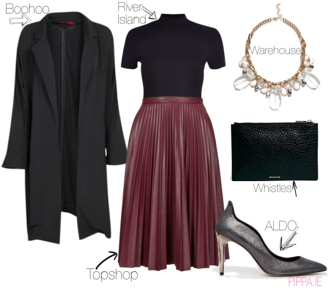 what-to-wear-for-a-winter-wedding-guest-outfit-burgundy-midi-skirt-pleated-black-jacket-coat-black-bag-bib-necklace-gray-shoe-pumps-dinner.jpg