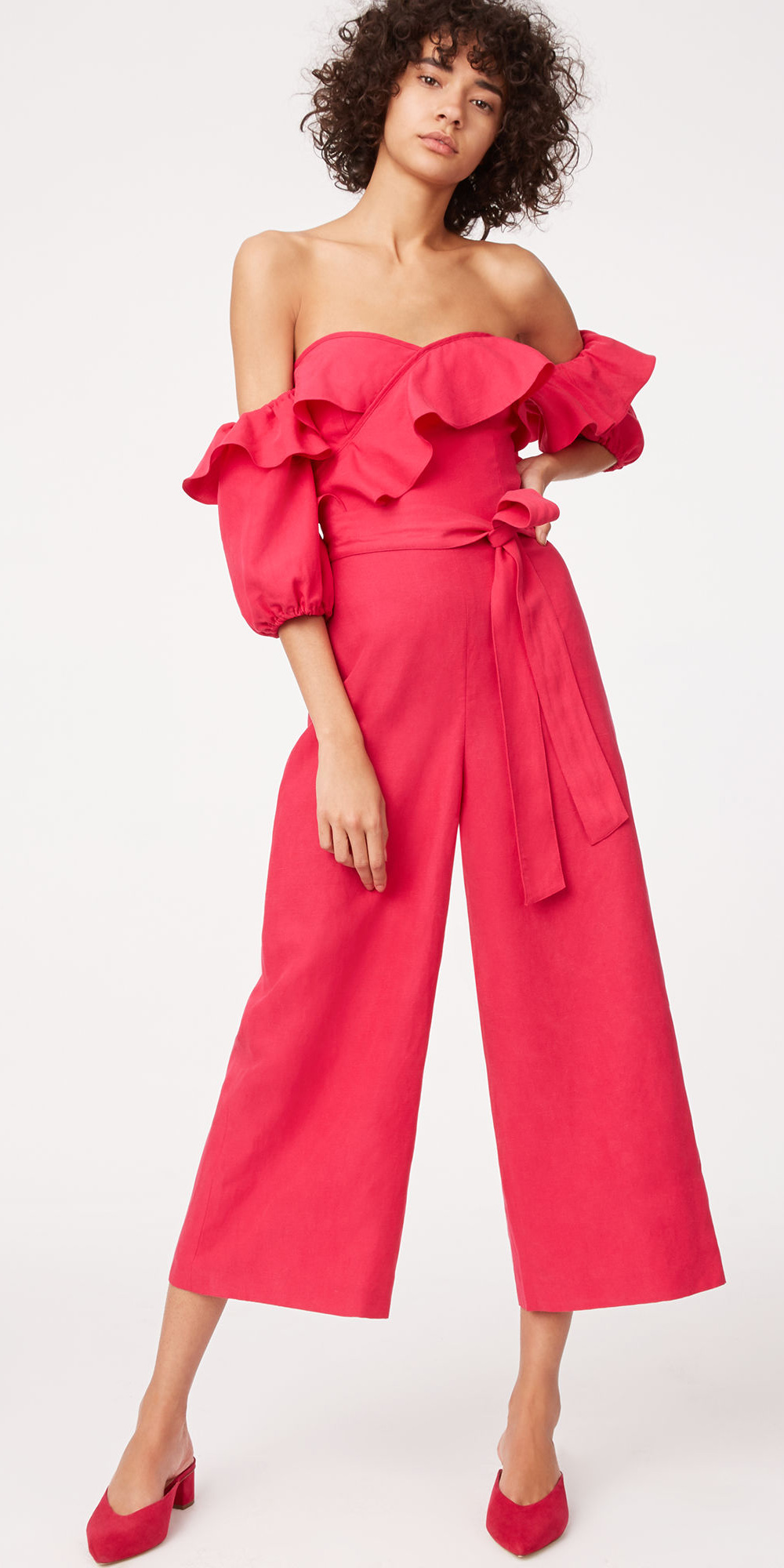 what-to-wear-for-a-spring-wedding-guest-outfit-pink-magenta-jumpsuit-offshoulder-pink-shoe-pumps-dinner.jpg