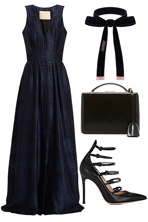 what-to-wear-for-a-winter-wedding-guest-outfit-blue-navy-dress-maxi-black-shoe-pumps-black-bag-ribbon-dinner.jpg