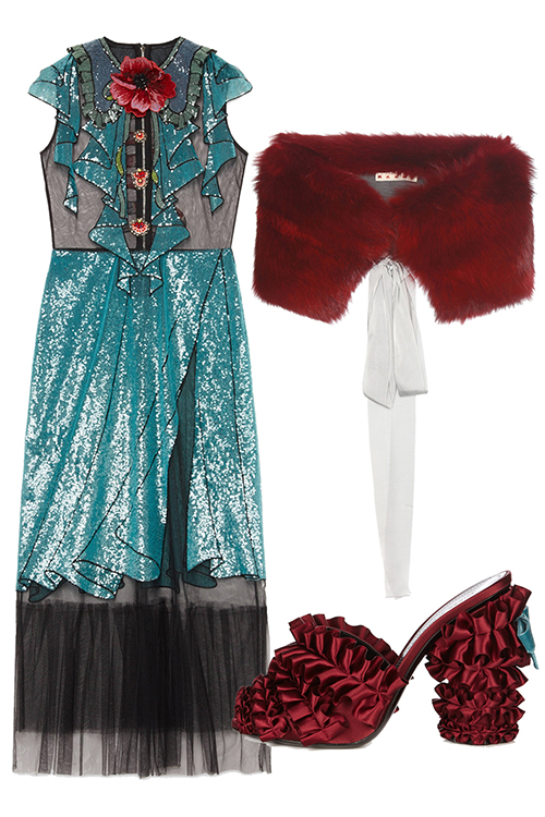 what-to-wear-for-a-winter-wedding-guest-outfit-blue-med-dress-midi-shiny-sheer-red-scarf-fur-stole-red-shoe-sandalh-dinner.jpg