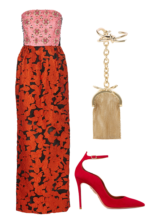what-to-wear-for-a-winter-wedding-guest-outfit-orange-dresss-midi-print-strapless-red-shoe-pumps-tan-bag-clutch-gold-tonal-dinner.jpg