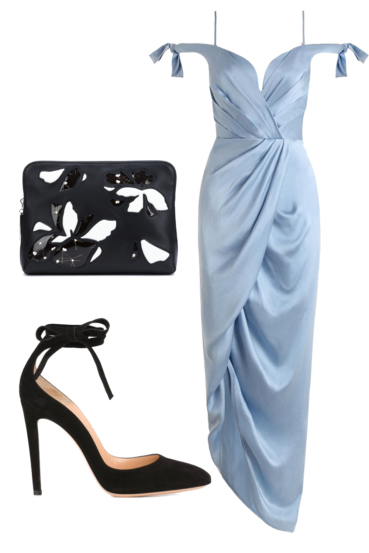 what-to-wear-for-a-winter-wedding-guest-outfit-blue-light-dress-midi-black-bag-clutch-black-shoe-pumps-offshoulder-dinner.jpg