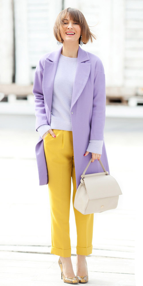 yellow-slim-pants-yellow-shoe-pumps-white-bag-purple-light-sweater-purple-light-jacket-coat-fall-winter-hairr-lunch.jpg