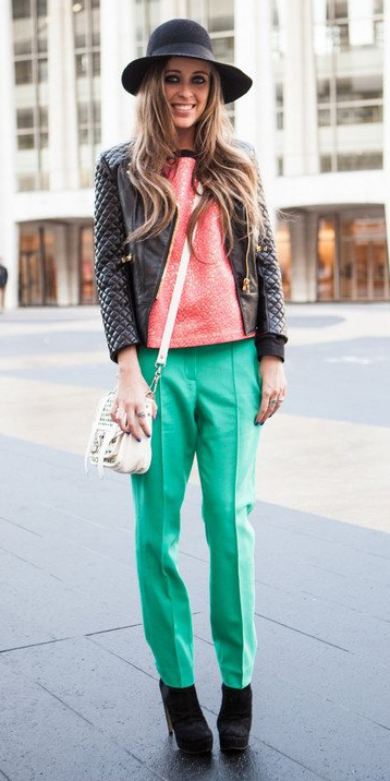 green-emerald-slim-pants-trackpants-peach-top-hairr-hat-black-jacket-moto-white-bag-black-shoe-booties-fall-winter-lunch.jpg