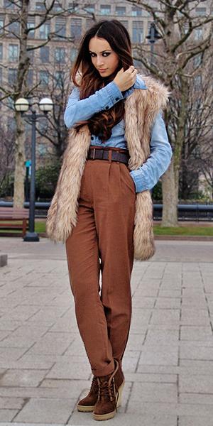 blue-light-collared-shirt-tan-vest-fur-hairr-camel-joggers-pants-brown-shoe-booties-fall-winter-lunch.jpg