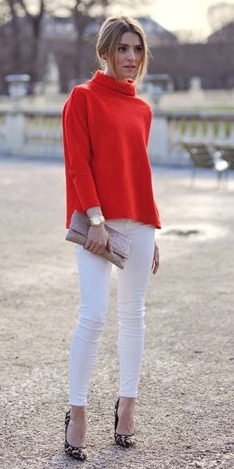 white-skinny-jeans-red-sweater-mockneck-holiday-blonde-tan-shoe-pumps-leopard-print-bun-fall-winter-dinner.jpg