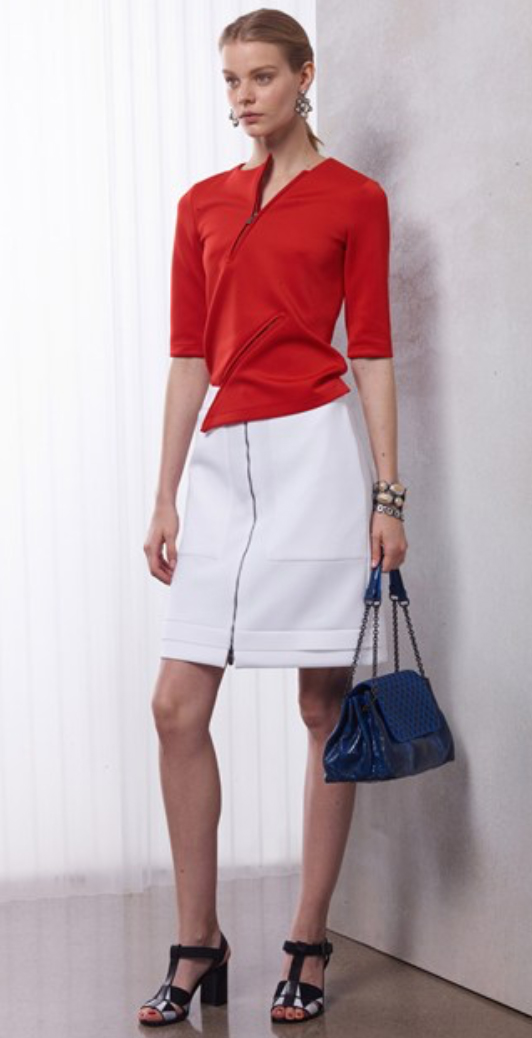 white-mini-skirt-red-sweater-earrings-pony-blue-bag-wear-style-fashion-spring-summer-black-shoe-sandalh-office-blonde-work.jpg