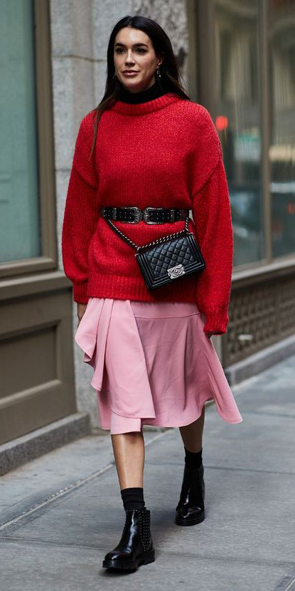 pink-light-midi-skirt-red-sweater-belt-black-bag-socks-black-shoe-booties-brun-fall-winter-lunch.jpg