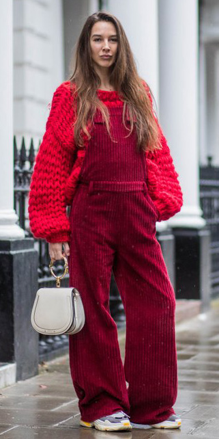 how-to-style-red-jumpsuit-layer-white-bag-hairr-gray-shoe-sneakers-red-sweater-overalls-corduroy-fall-winter-fashion-weekend.jpg