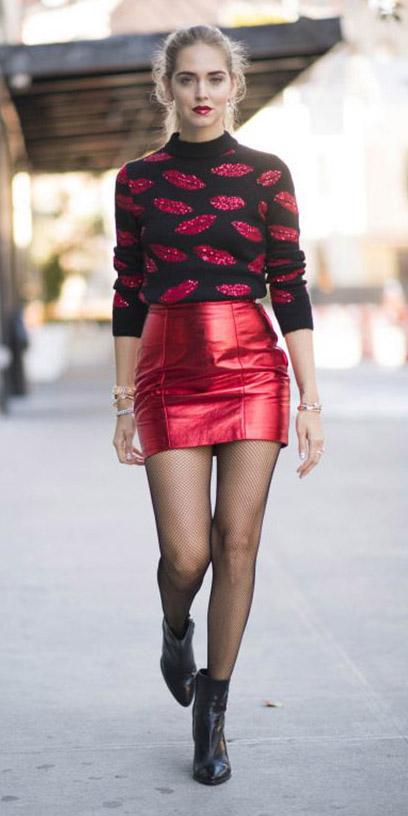 red-mini-skirt-red-sweater-lips-print-pony-black-tights-fishnet-black-shoe-booties-fall-winter-hairr-dinner.jpg