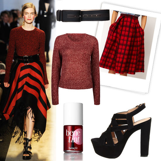 red-midi-skirt-red-sweater-plaid-print-bun-mono-wear-outfit-fall-winter-fashionrunway-wide-belted-black-shoe-sandalh-hairr-lunch.jpg