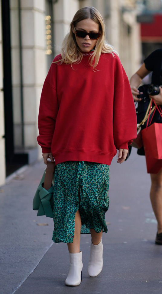 green-emerald-dress-midi-white-shoe-booties-print-layer-oversized-green-bag-blonde-red-sweater-sweatshirt-fall-winter-lunch.jpg