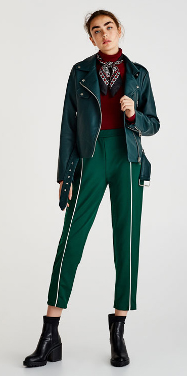 green-dark-slim-pants-trackpants-black-scarf-neck-red-sweater-turtleneck-bun-black-shoe-booties-green-dark-jacket-moto-fall-winter-hairr-lunch.jpg