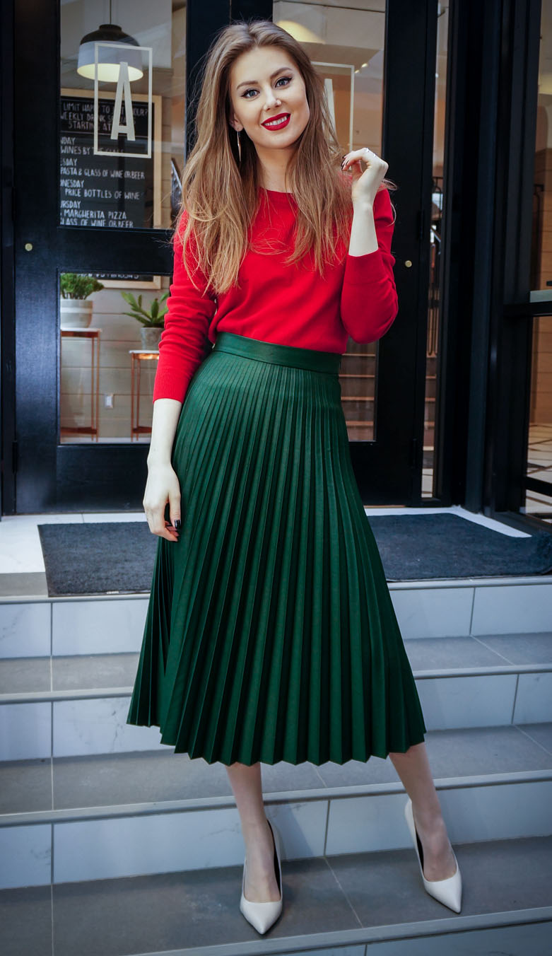 green-dark-midi-skirt-pleated-red-sweater-hairr-white-shoe-pumps-howtowear-valentinesday-outfit-fall-winter-dinner.jpg