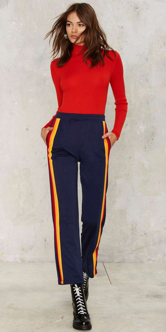 blue-wideleg-pants-track-red-sweater-turtleneck-black-shoe-booties-brun-fall-winter-work.jpg