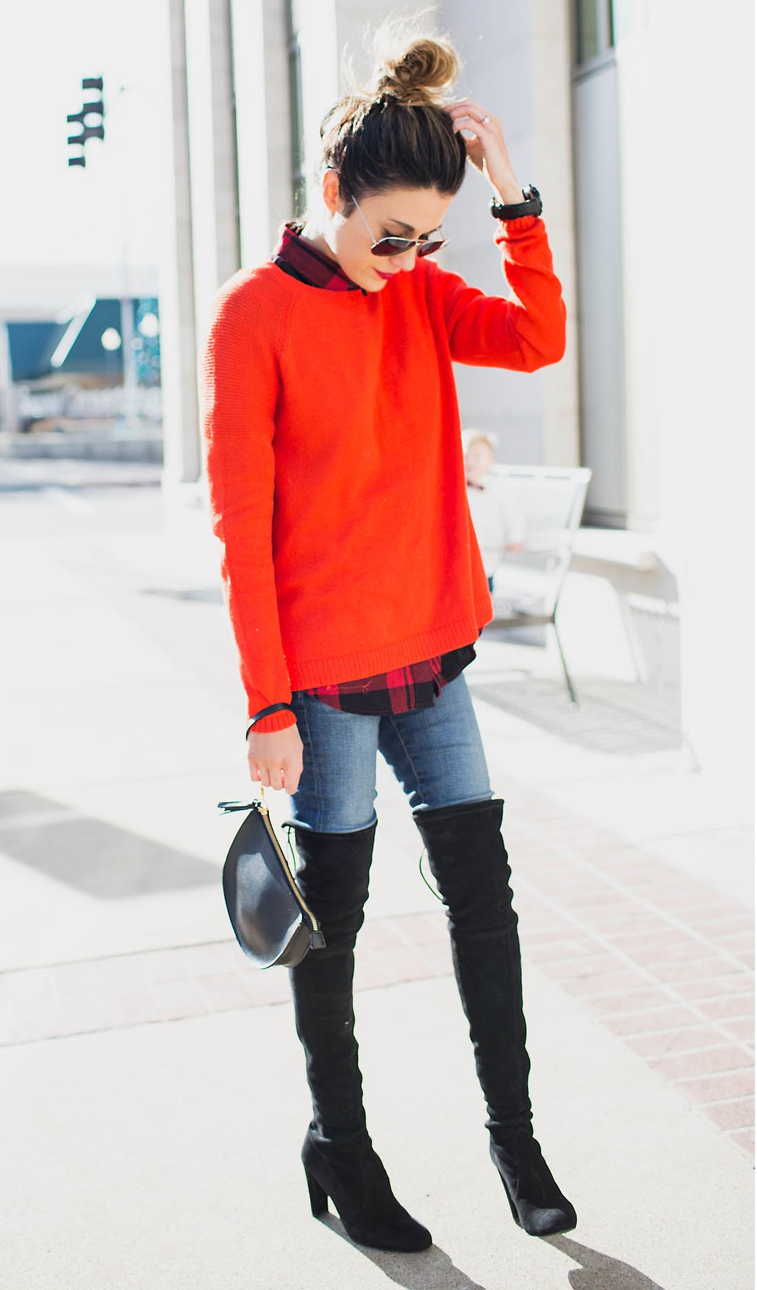 blue-med-skinny-jeans-black-shoe-boots-otk-red-sweater-red-plaid-shirt-hairr-bun-sun-watch-fall-winter-weekend.jpg