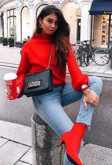 red-sweater-blue-light-skinny-jeans-hairr-earrings-red-shoe-booties-black-bag-fall-winter-lunch.jpg