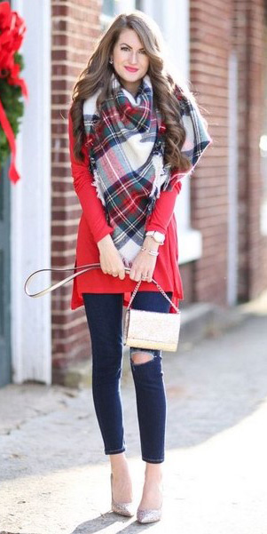 blue-navy-skinny-jeans-red-sweater-white-scarf-plaid-print-brun-fall-winter-holiday-christmas-outfits-lunch.jpg