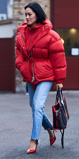 blue-light-skinny-jeans-red-shoe-pumps-red-sweater-red-jacket-coat-puffer-fall-winter-brun-lunch.jpg