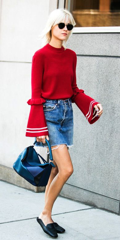blue-med-mini-skirt-denim-red-sweater-bellsleeve-black-shoe-loafers-slides-black-bag-fall-winter-blonde-weekend.jpg
