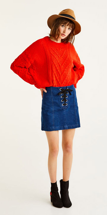 blue-navy-mini-skirt-denim-red-sweater-black-shoe-booties-hat-fall-winter-hairr-lunch.jpg
