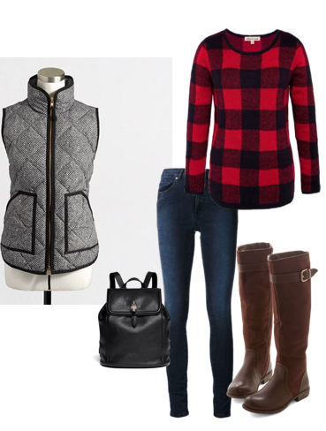 blue-navy-skinny-jeans-red-sweater-grayl-vest-puffer-black-bag-pack-howtowear-fashion-style-outfit-fall-winter-plaid-brown-shoe-boots-weekend.jpg