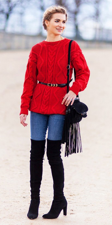 blue-med-skinny-jeans-red-sweater-howtowear-style-fashion-fall-winter-belt-fringe-milkmaid-bun-black-bag-black-shoe-boots-blonde-dinner.jpg