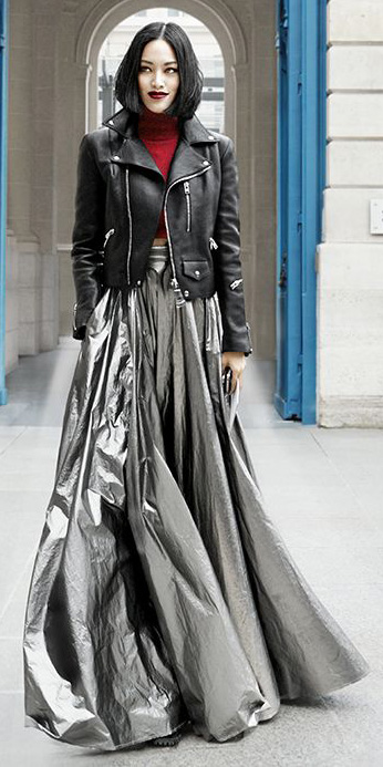 grayl-maxi-skirt-red-sweater-turtleneck-black-jacket-moto-bob-shiny-fall-winter-brun-dinner.jpg