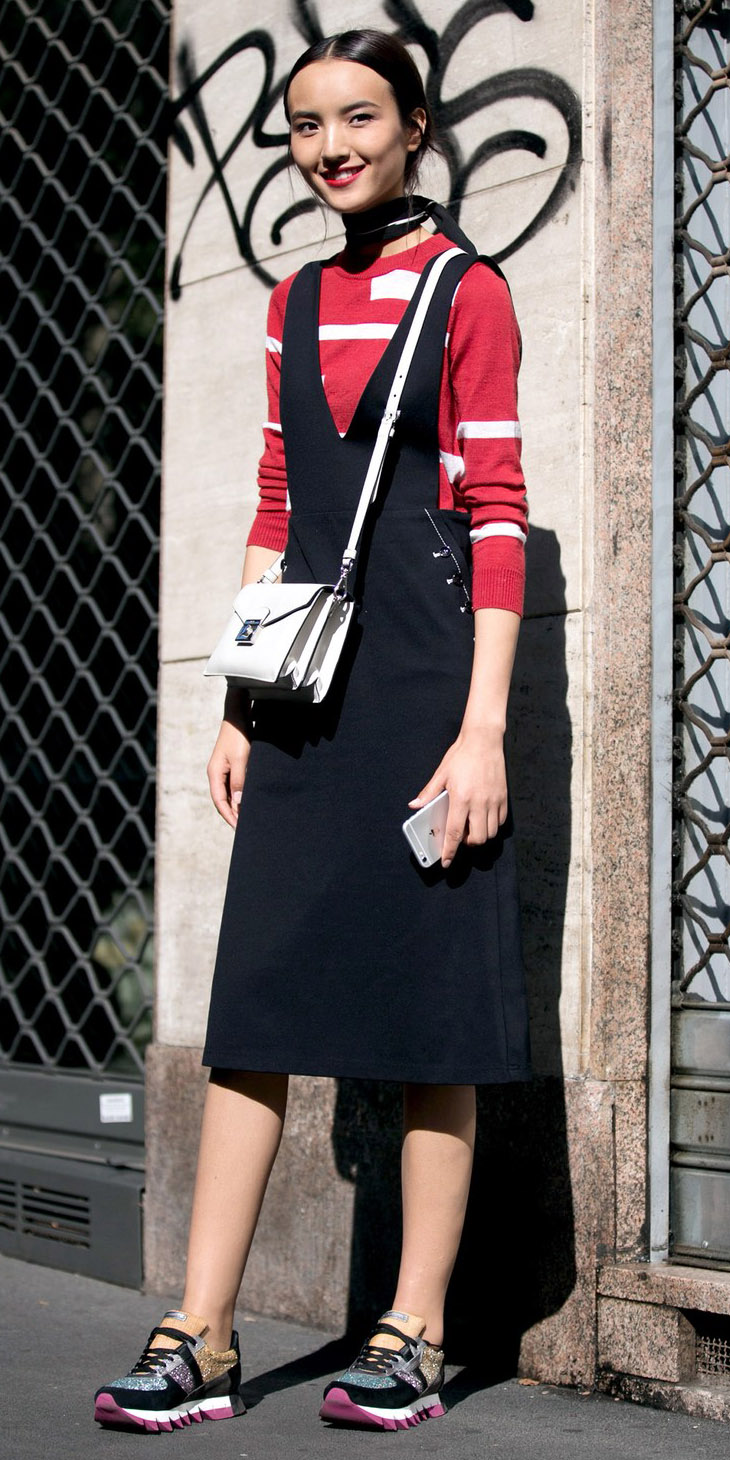 black-dress-jumper-red-sweater-white-bag-brun-pony-black-scarf-neck-black-shoe-sneakers-fall-winter-weekend.jpg