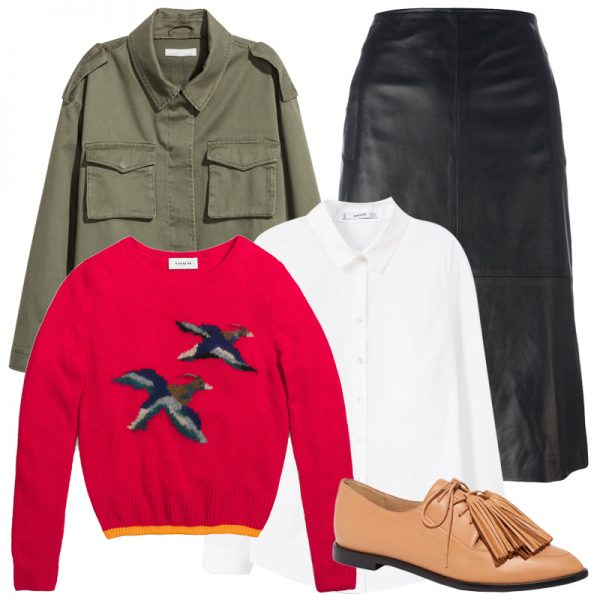 black-midi-skirt-leather-white-collared-shirt-red-sweater-green-olive-jacket-utility-tan-shoe-brogues-fall-winter-lunch.jpg