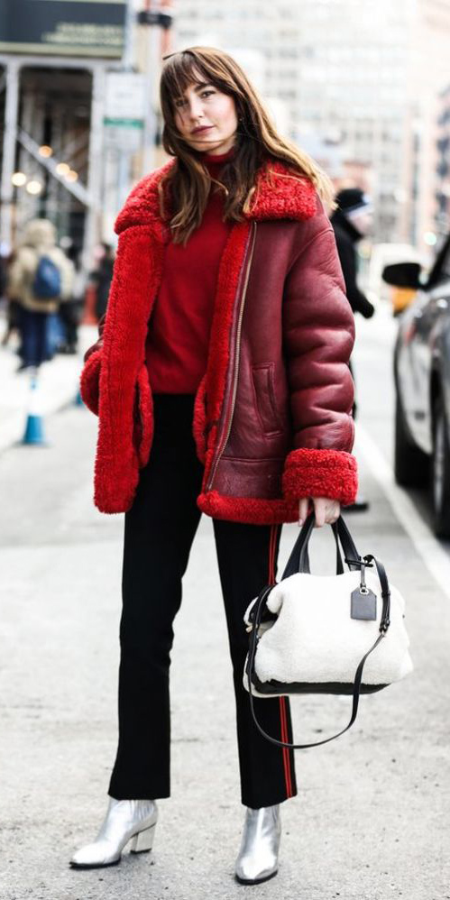 black-slim-pants-red-sweater-turtleneck-white-bag-shearling-gray-shoe-booties-silver-metallic-jacket-coat-fall-winter-hairr-lunch.jpg