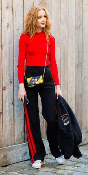black-wideleg-pants-stripe-trackpants-red-sweater-black-jacket-yellow-bag-white-shoe-sneakers-fall-winter-hairr-weekend.jpg