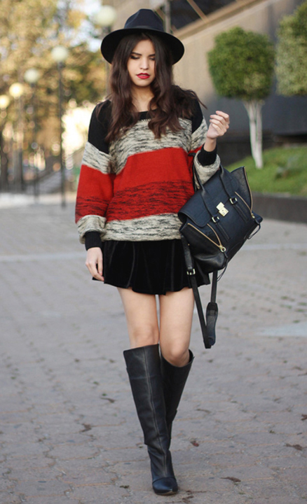 black-mini-skirt-red-sweater-stripe-black-bag-wear-style-fashion-fall-winter-black-shoe-boots-hat-brun-lunch.jpg