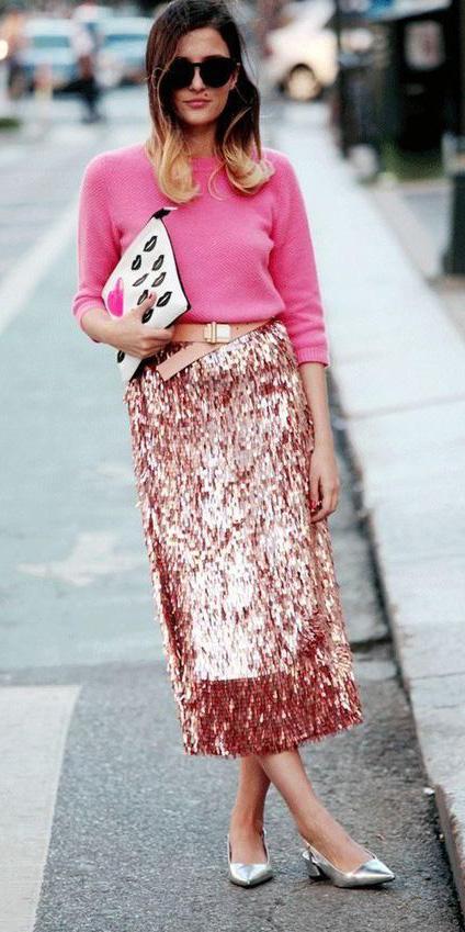 pink-light-midi-skirt-belt-pink-magenta-sweater-tonal-gray-shoe-pumps-white-bag-clutch-hairr-sun-fall-winter-dinner.jpg