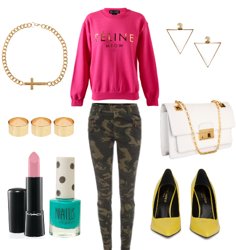 green-olive-skinny-jeans-r-pink-magenta-sweater-sweatshirt-chain-necklace-graphic-earrings-white-bag-yellow-shoe-pumps-nail-army-howtowear-fashion-style-outfit-spring-summer-dinner.jpg