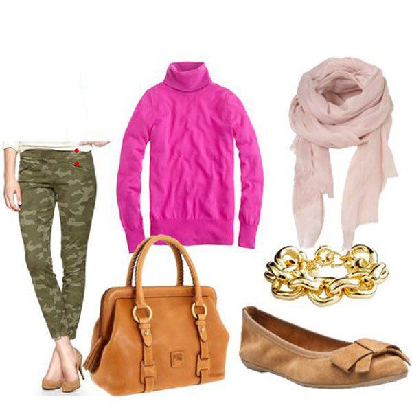 green-olive-skinny-jeans-camo-print-pink-magenta-sweater-turtleneck-tan-shoe-flats-pink-light-scarf-cognac-bag-bracelet-fall-winter-weekend.jpg