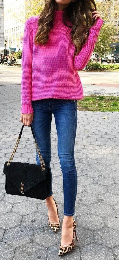 blue-navy-skinny-jeans-pink-magenta-sweater-hairr-black-bag-tan-shoe-pumps-leopard-print-fall-winter-lunch.jpg