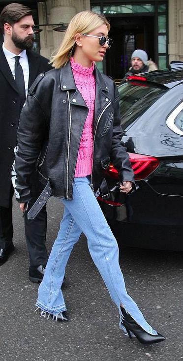blue-light-flare-jeans-pink-magenta-sweater-black-jacket-moto-blonde-lob-sun-black-shoe-booties-haileybaldwin-fall-winter-lunch.jpg