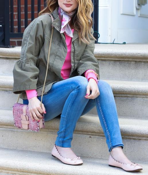 blue-med-skinny-jeans-tan-shoe-flats-pink-bag-pink-magenta-sweater-green-olive-jacket-utility-grayl-scarf-neck-blonde-spring-summer-weekend.jpg