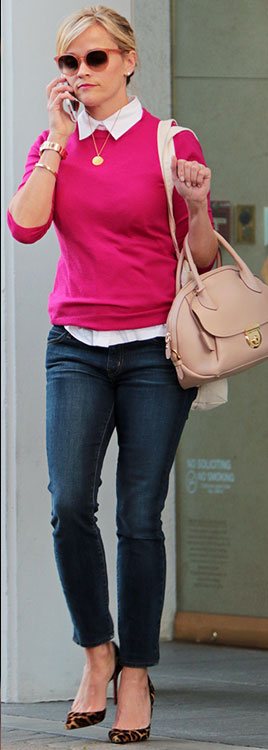 blue-navy-skinny-jeans-white-collared-shirt-pink-magenta-sweater-necklace-sun-bun-tan-bag-tan-shoe-pumps-leopard-reesewitherspoon-calif-fashion-blonde-spring-summer-lunch.jpg