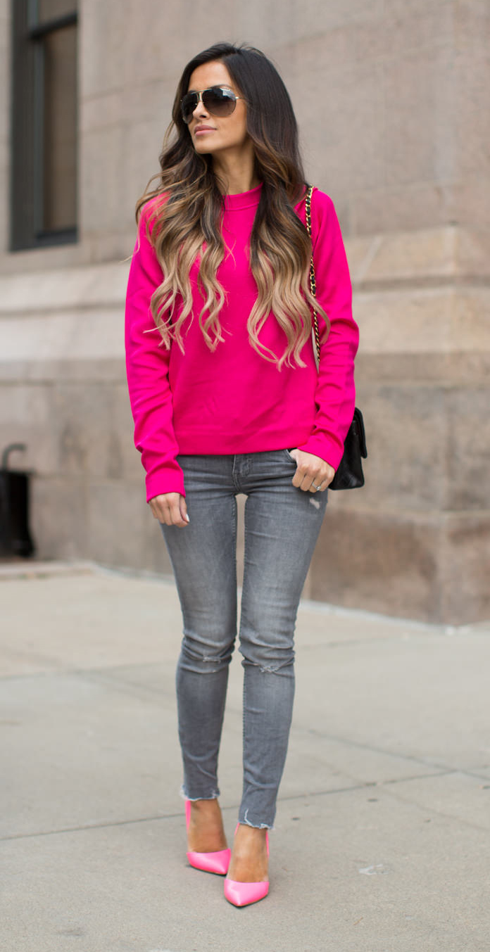 grayl-skinny-jeans-r-pink-magenta-sweater-black-bag-pink-shoe-pumps-sun-howtowear-fashion-style-outfit-fall-winter-hairr-lunch.jpg