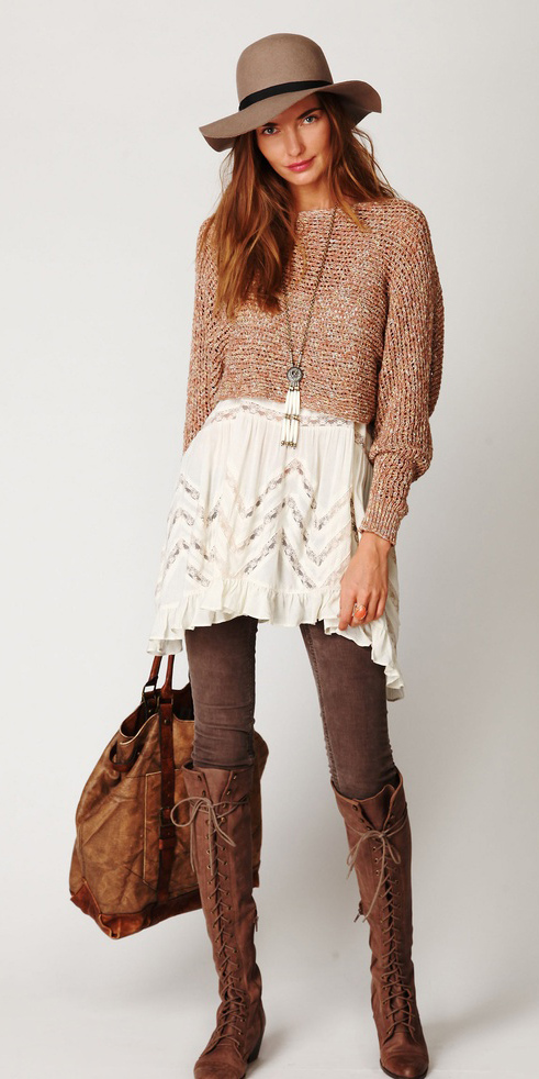 peach-sweater-hat-necklace-pend-hairr-cognac-bag-brown-leggings-cognac-shoe-boots-white-dress-slip-fall-winter-weekend.jpg