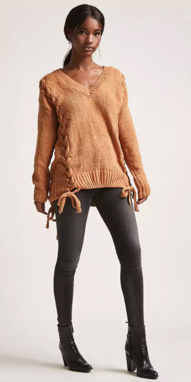 black-skinny-jeans-peach-sweater-brun-pony-black-shoe-booties-fall-winter-lunch.jpg