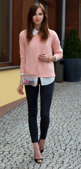 black-skinny-jeans-white-collared-shirt-o-peach-sweater-black-shoe-pumps-howtowear-fashion-style-outfit-spring-summer-hairr-lunch.jpg