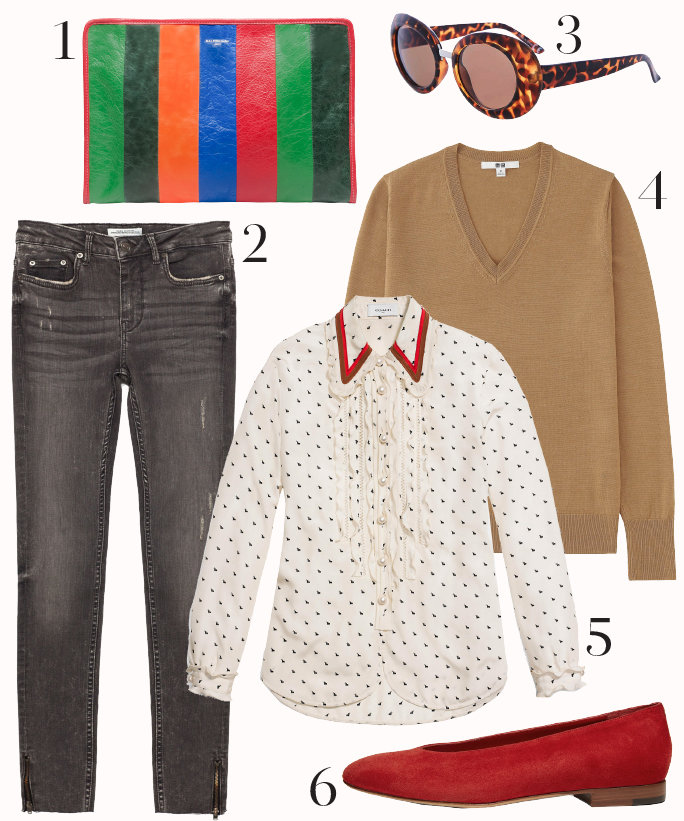 grayd-skinny-jeans-white-collared-shirt-dot-camel-sweater-howtowear-style-fashion-outfit-fall-winter-vneck-dot-red-shoe-flats-sun-green-bag-clutch-lunch.jpg